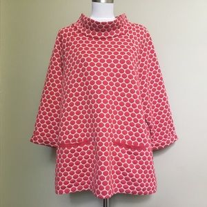 BODEN red & ivory Polka Dot Mod tunic top 18